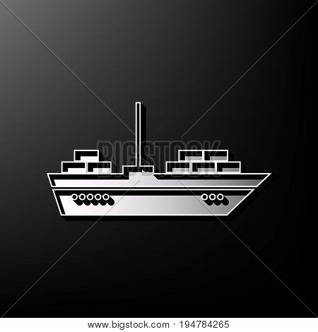 Ship sign illustration. Vector. Gray 3d printed icon on black background.