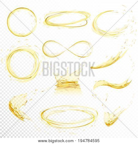 Oil splashing isolated on white background. Realistic yellow liquid with drop created with gradient mesh. Vector illustration set