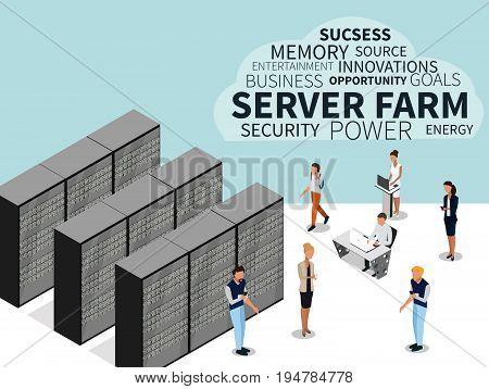Server farm and isometric people. Isometric view of server, data center, server rack, computer server. Vector illustration