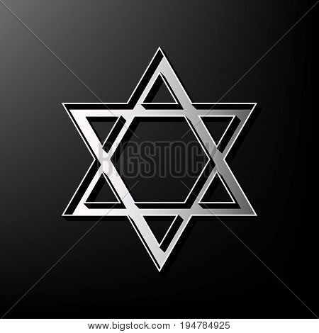 Shield Magen David Star. Symbol of Israel. Vector. Gray 3d printed icon on black background.
