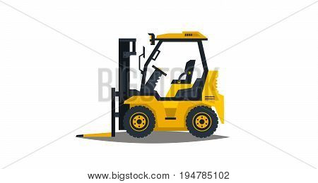 Forklift isolated on white background. Construction machinery. Car loader. Commercial Vehicles. Vector illustration. Flat style.