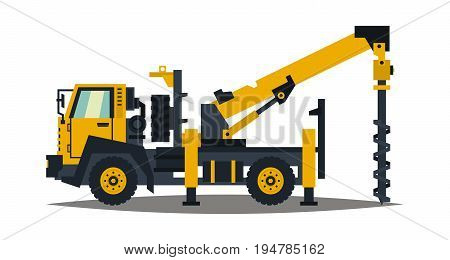 Truck drilling. Yellow, isolation on a white background. Drilling rig. Anchor truck. Construction machinery. Crushing of land. Vector illustration. Flat style.