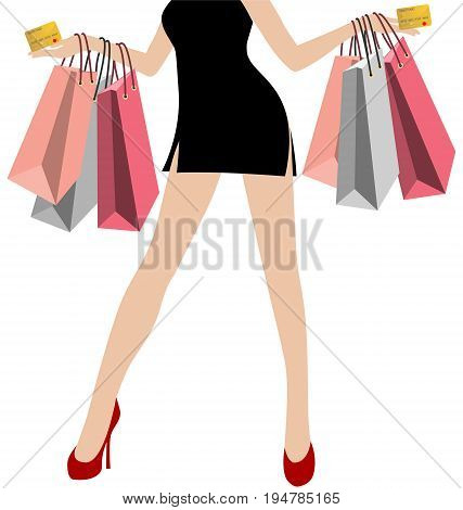 Woman Hand in Black Mini Dresses With Many Colorful Shopping Bags With Gold Credit Card On White Background