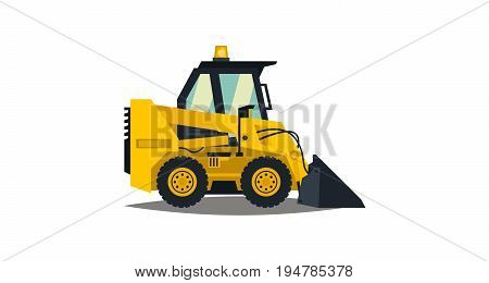 Mini loader. Yellow, flat style. Commercial Vehicles. Special equipment. Vector illustration Flat style