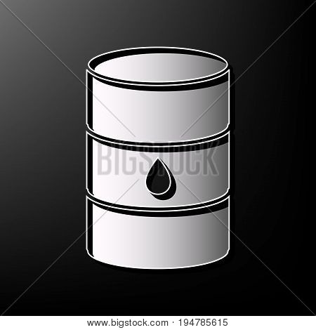 Oil barrel sign. Vector. Gray 3d printed icon on black background.