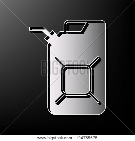 Jerrycan oil sign. Jerry can oil sign. Vector. Gray 3d printed icon on black background.