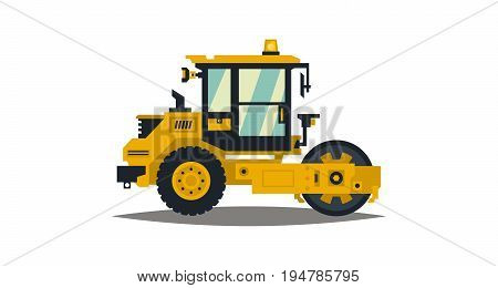 Yellow asphalt compactor isolated on white background. Construction machinery. Special equipment. Road repair. Vector illustration. Flat style.