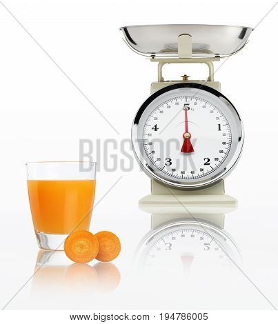 food scale with carrot juice glass isolated on white background Balanced diet concept