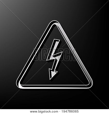 High voltage danger sign. Vector. Gray 3d printed icon on black background.
