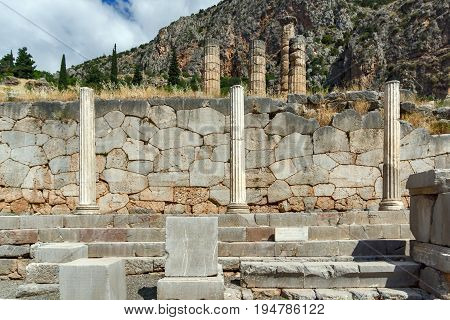 Column in Ancient Greek archaeological site of Delphi, Central Greece
