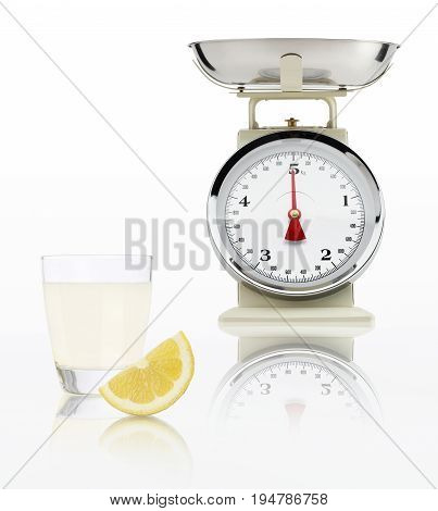 food scale with lemon juice glass isolated on white background Balanced diet concept