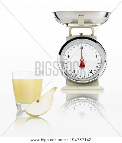 food scale with pear juice glass isolated on white background Balanced diet concept