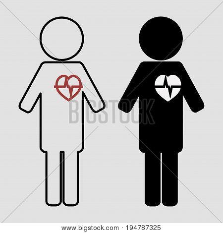 Man with an apparent heartbeat set, the heart is white and red vector