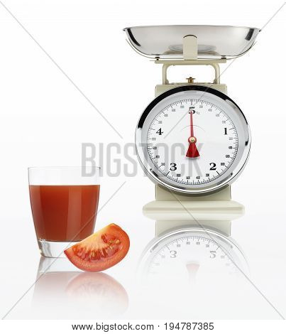 food scale with tomato juice glass isolated on white background Balanced diet concept