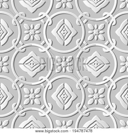 Seamless 3D White Paper Cut Art Round Circle Cross Chain Flower