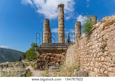 Columns in The Temple of Apollo in Ancient Greek archaeological site of Delphi, Central Greece