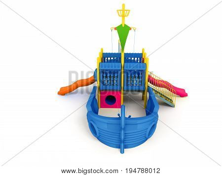 Playground For Children Ship Blue Front 3D Rendering On A White Background