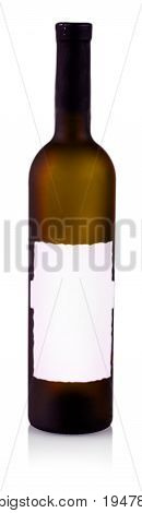 Wine bottles isolated on white background with label