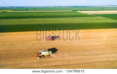 Aerial Image Of Harvest In Wheat Field