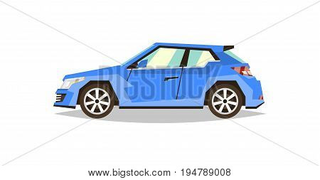 Blue car hatchback. Side view. Transport for travel. Gas engine. Alloy wheels. Flat style