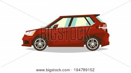 Red car hatchback. Side view. Transport for travel. Gas engine. Alloy wheels. Flat style