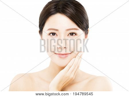 closeup young asian Woman beauty face isolated