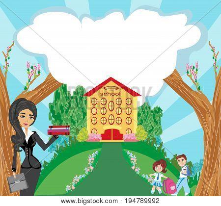Happy kids go to school , vector illustration