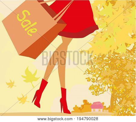 woman legs in Autumn Sale banner  , vector illustration
