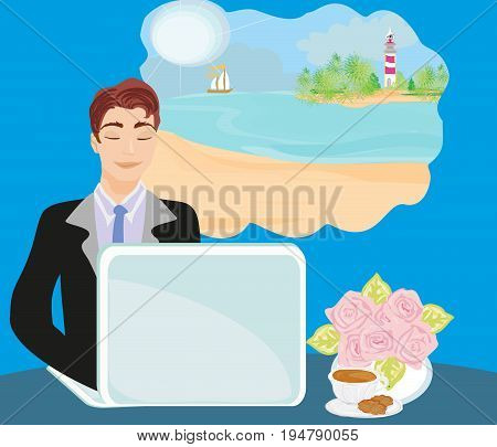 Office worker of a dream of a summer vacation , vector illustration