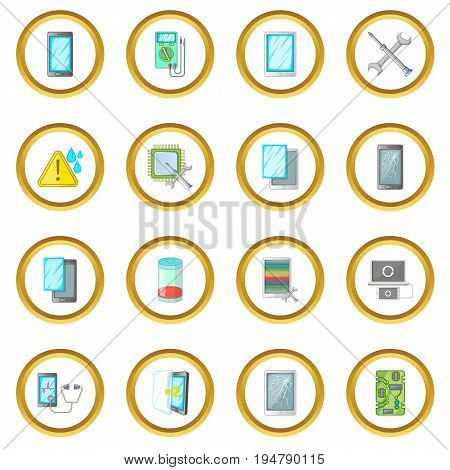 Broken phones fix icons circle gold in cartoon style isolate on white background vector illustration