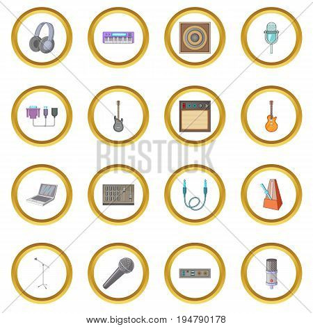 Recording studio icons circle gold in cartoon style isolate on white background vector illustration