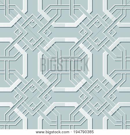 Vector Damask Seamless 3D Paper Art Octagon Cross Chain