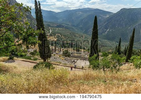 Panorama of Amphitheatre in Ancient Greek archaeological site of Delphi, Central Greece