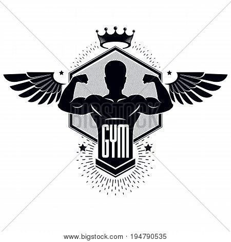 Gym weightlifting and fitness sport club logo vintage style vector emblem with wings. With sportsman silhouette.