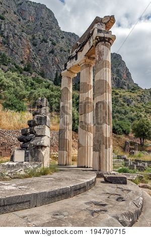 Ruins of Athena Pronaia Sanctuary at Ancient Greek archaeological site of Delphi, Central Greece