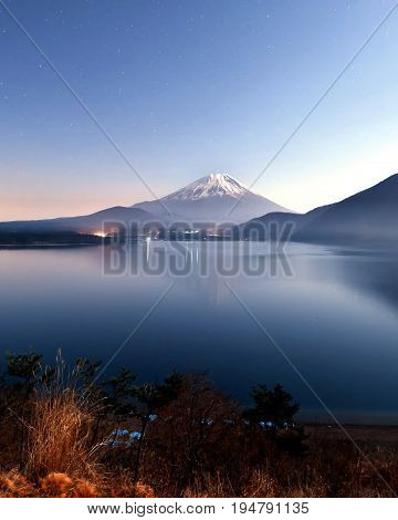 View of Mt. Fuji  at  Motosuko lake, Japan. Mt. Fuji is commonly called as Fuji-San, Fujisan, Fuji mountain. Fuji mountain is one of the well known symbol of Japan.