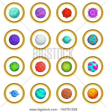 Fantastic planets icons circle gold in cartoon style isolate on white background vector illustration