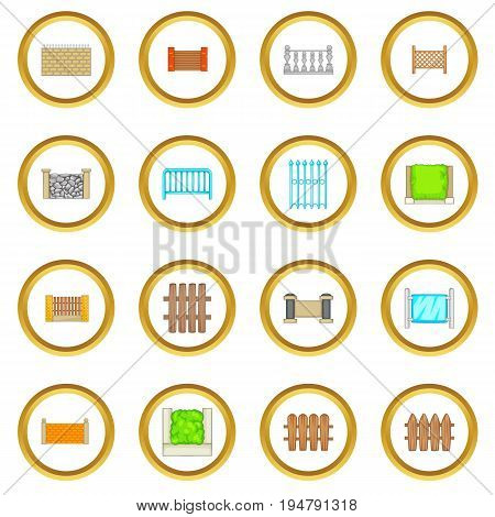 Fencing modules icons circle gold in cartoon style isolate on white background vector illustration