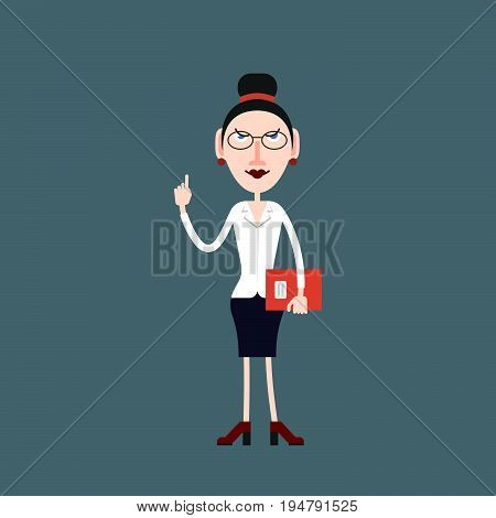 Teacher woman in glasses pays attention by lifting her finger up in the other hand he holds a folder with documents.