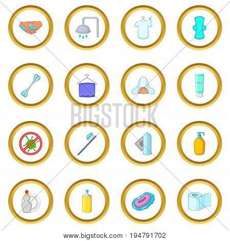 Hygiene icons circle gold in cartoon style isolate on white background vector illustration