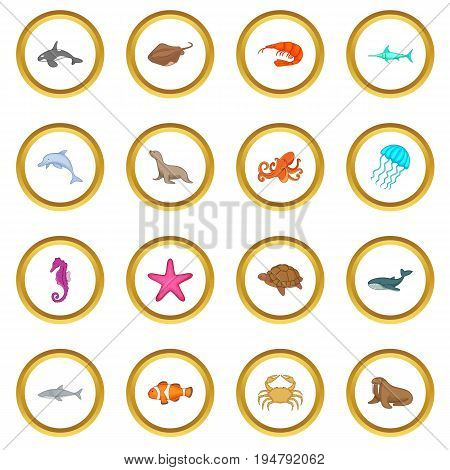 Ocean inhabitants icons circle gold in cartoon style isolate on white background vector illustration