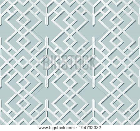 Vector Damask Seamless 3D Paper Art Check Cross Chain