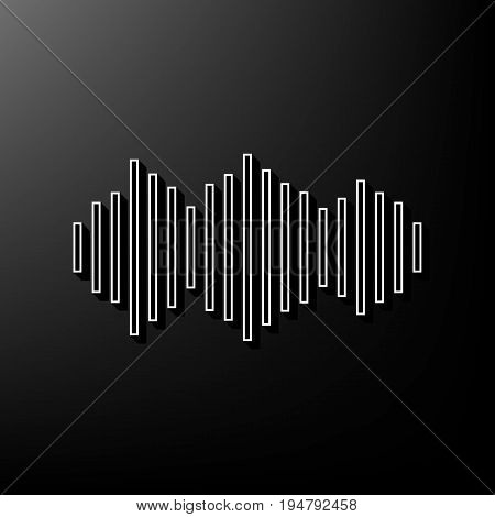 Sound waves icon. Vector. Gray 3d printed icon on black background.