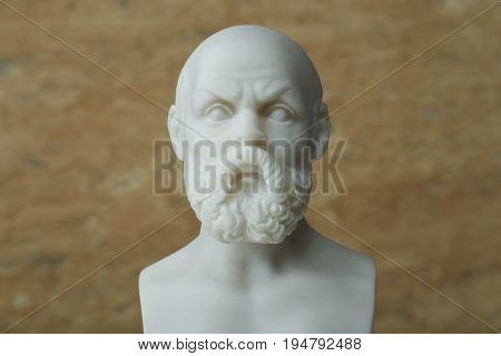 Statue of Socrates, ancient Greek philosopher in Athens.