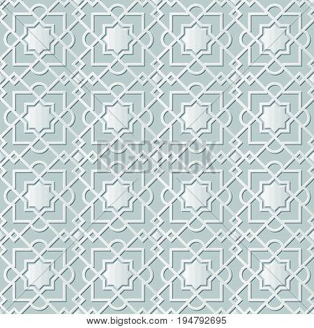 Vector Damask Seamless 3D Paper Art Star Check Cross Chain