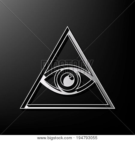 All seeing eye pyramid symbol. Freemason and spiritual. Vector. Gray 3d printed icon on black background.