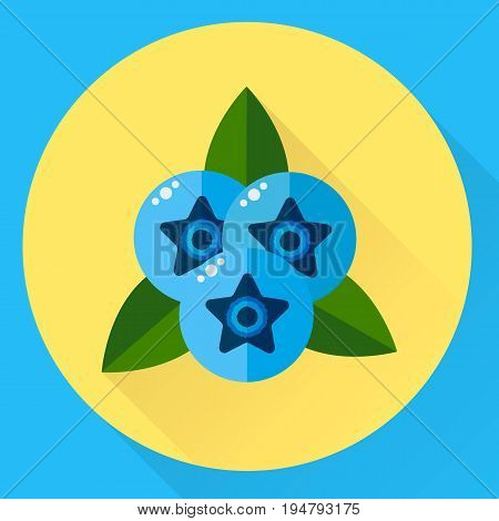 Vector Illustration, Flat Round Icon Blueberries, Blue Berries W