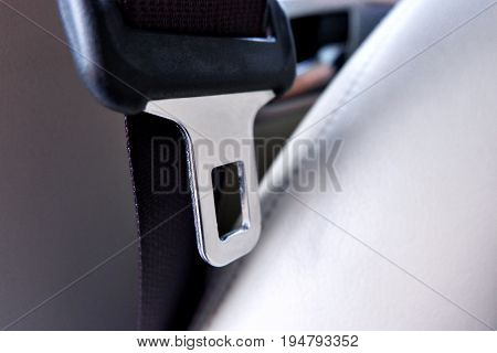 seat belt or safety belt close up .