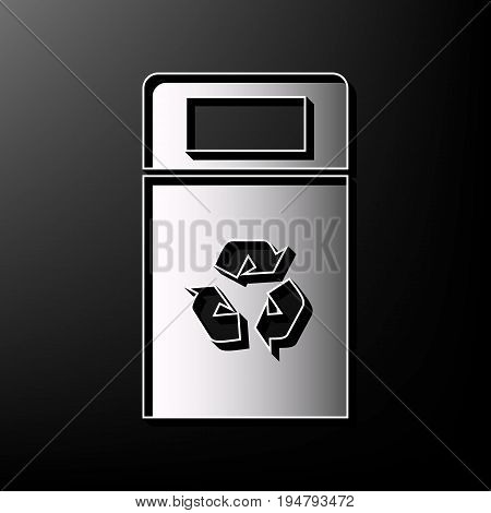Trashcan sign illustration. Vector. Gray 3d printed icon on black background.
