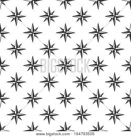 Wind rose seamless pattern for t shirt, wallpaper, clothing. Compass in retro monochrome style. Vintage design. Stock vector background.